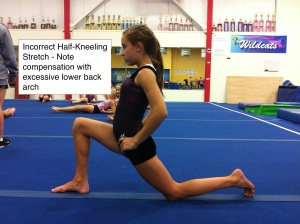 Improper Half Kneeling Hip Flexor Stretch - Note Anterior Pelvic Tilt and Compensatory Use of Lower Back Arch