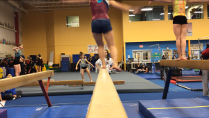 Flat foot and faulty lower leg train seen with switch leap landing on beam