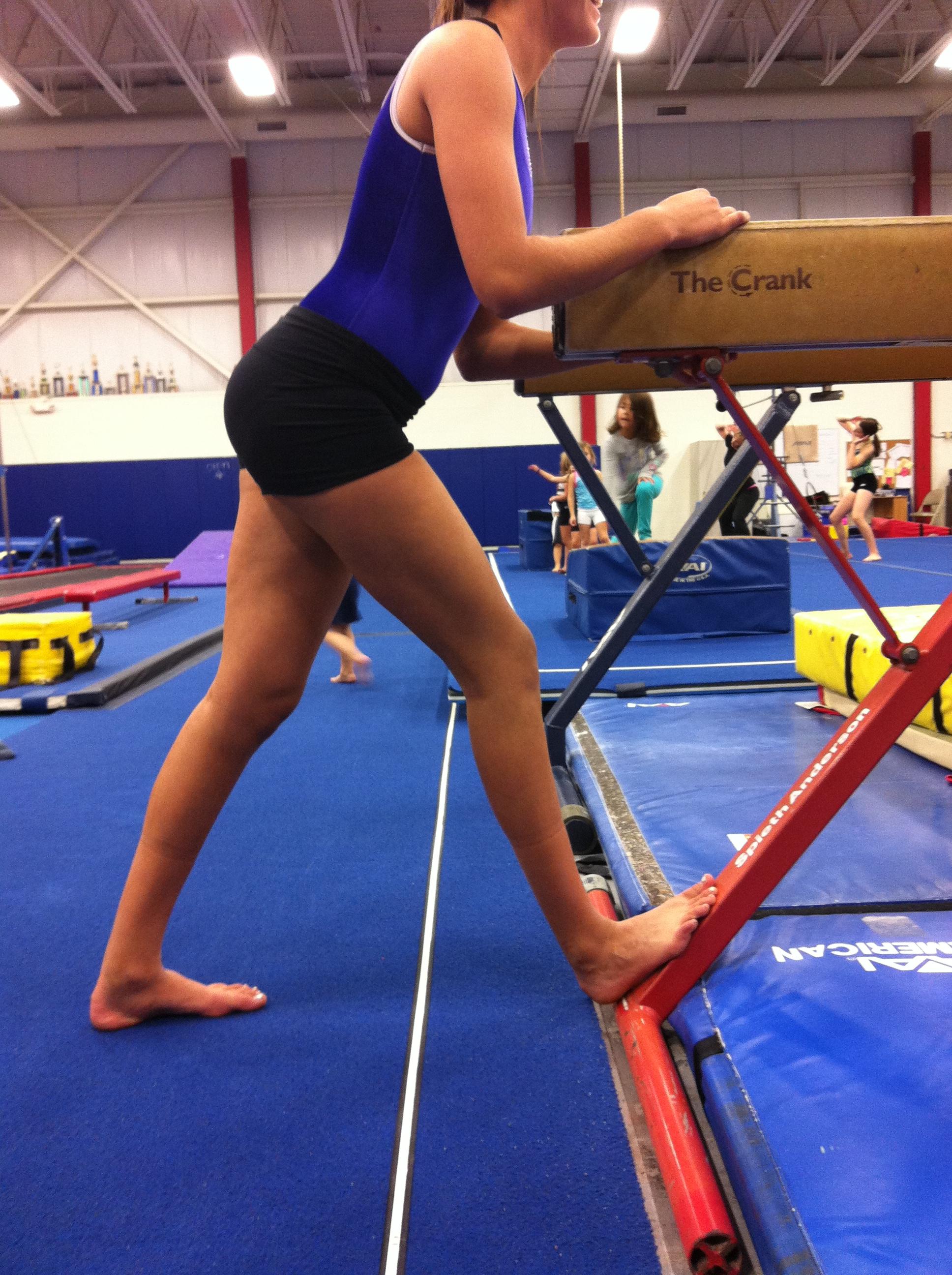 preteen stretch Soleus Stretch Using Beam Base