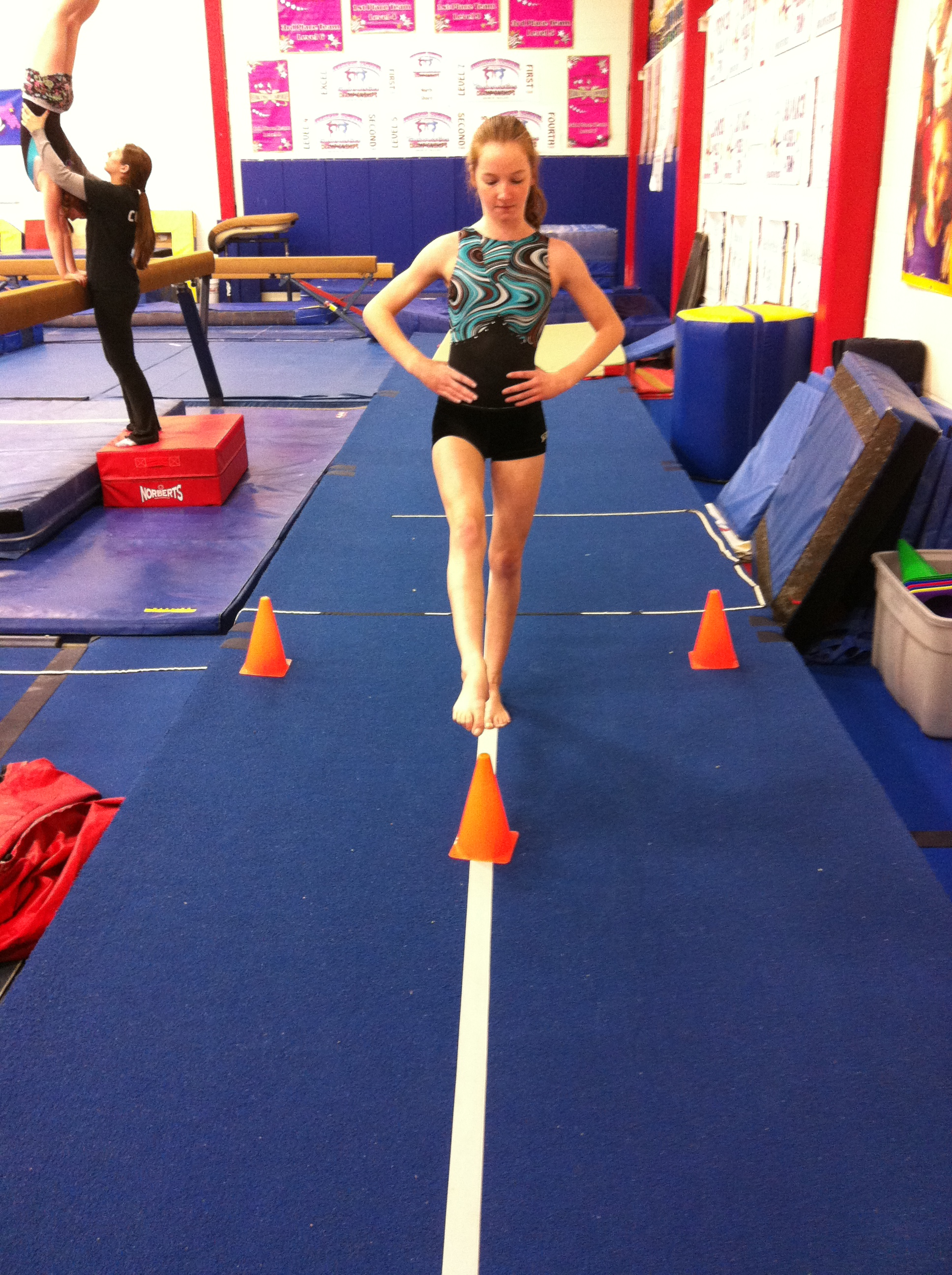 physics of gymnastics By: haylee thomas the physics of gymnastics uneven bars vault sources newton's 1st law beam newton's 2nd law this is an apparatus that has two bars (set at different heights) that a gymnast does flips , spins and release moves off of moving bar to bar.