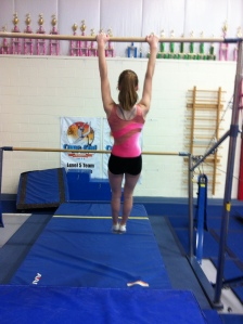 Hanging Shoulder Shrug End - Emphasis on rotating shoulders down and toward each others