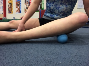 "Positioning of Lacrosse/Tennis Ball for outer Soleus soft tissue work in ""pigeon"""